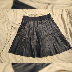 Navy blue faux leather pleated skirt